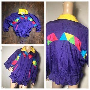 Vintage 80s track windbreaker Jacket Plus Size